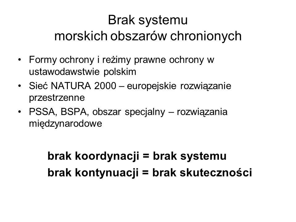 Brak systemu morskich obszarów chronionych Formy ochrony i reżimy prawne ochrony w ustawodawstwie polskim Sieć NATURA 2000 – europejskie rozwiązanie p