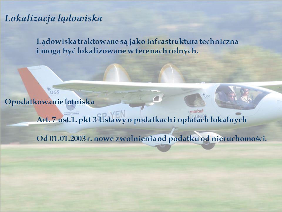Lokalizacja lądowiska Lądowiska traktowane są jako infrastruktura techniczna i mogą być lokalizowane w terenach rolnych. Opodatkowanie lotniska Art. 7