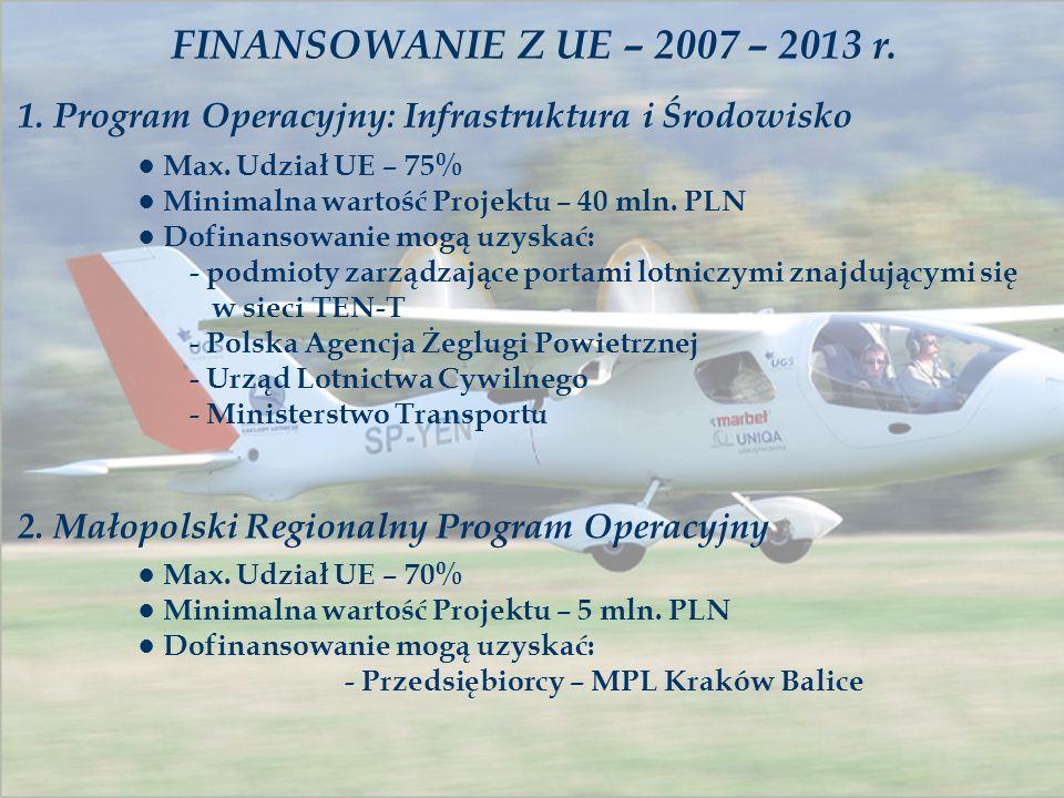 FINANSOWANIE Z UE – 2007 – 2013 r. 1. Program Operacyjny: Infrastruktura i Środowisko Max. Udział UE – 75% Minimalna wartość Projektu – 40 mln. PLN Do