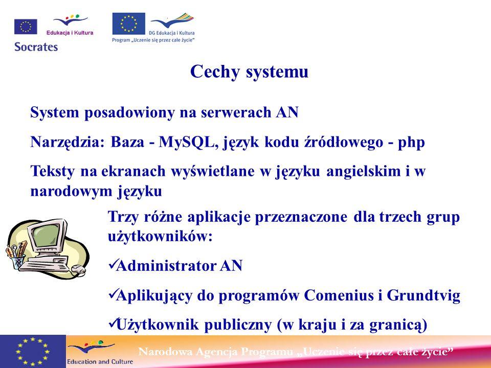 Narodowa Agencja Programu Uczenie się przez całe życie Cechy systemu Trzy różne aplikacje przeznaczone dla trzech grup użytkowników: Administrator AN Aplikujący do programów Comenius i Grundtvig Użytkownik publiczny (w kraju i za granicą) System posadowiony na serwerach AN Narzędzia: Baza - MySQL, język kodu źródłowego - php Teksty na ekranach wyświetlane w języku angielskim i w narodowym języku