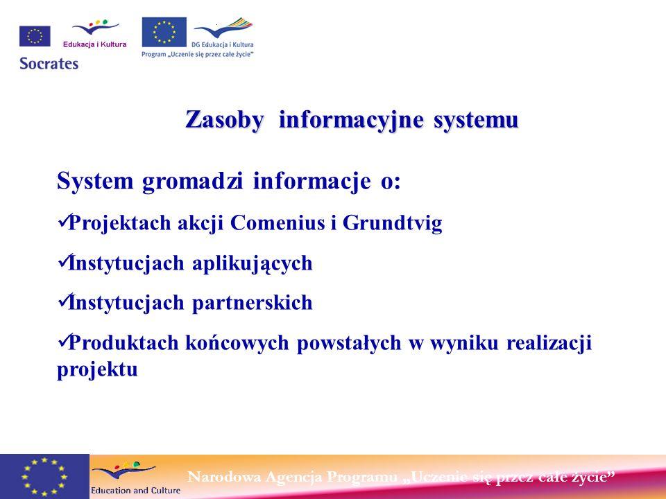 Narodowa Agencja Programu Uczenie się przez całe życie Zasoby informacyjne systemu System gromadzi informacje o: Projektach akcji Comenius i Grundtvig Instytucjach aplikujących Instytucjach partnerskich Produktach końcowych powstałych w wyniku realizacji projektu