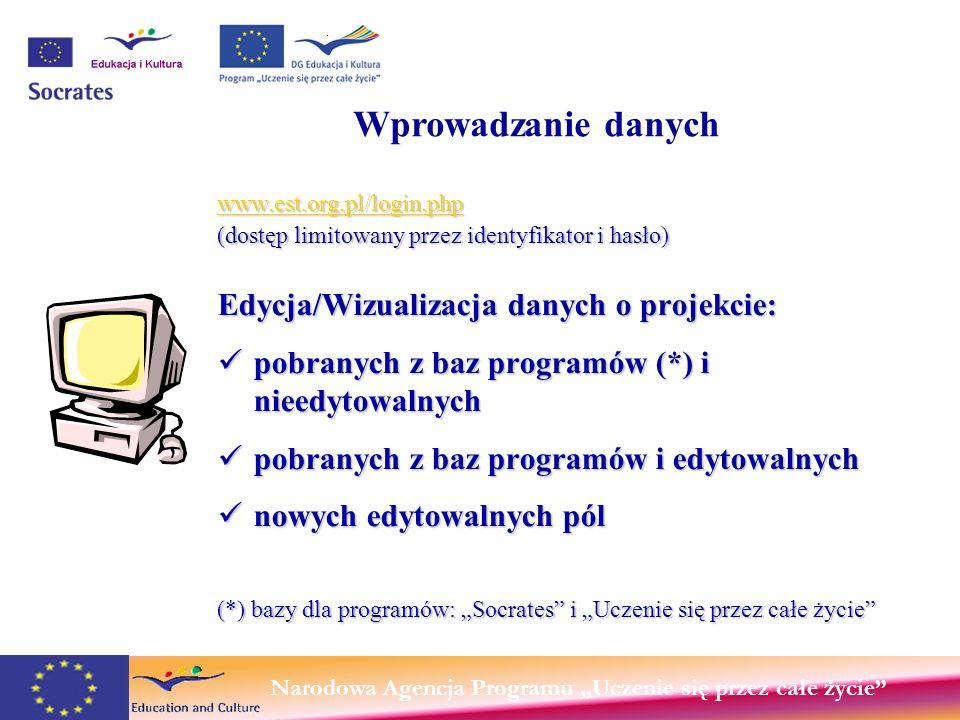 Narodowa Agencja Programu Uczenie się przez całe życie www.est.org.pl/login.php www.est.org.pl/login.php (dostęp limitowany przez identyfikator i hasło) Edycja/Wizualizacja danych o projekcie: pobranych z baz programów (*) i nieedytowalnych pobranych z baz programów (*) i nieedytowalnych pobranych z baz programów i edytowalnych pobranych z baz programów i edytowalnych nowych edytowalnych pól nowych edytowalnych pól (*) bazy dla programów: Socrates i Uczenie się przez całe życie Beneficjent programu Wprowadzanie danych