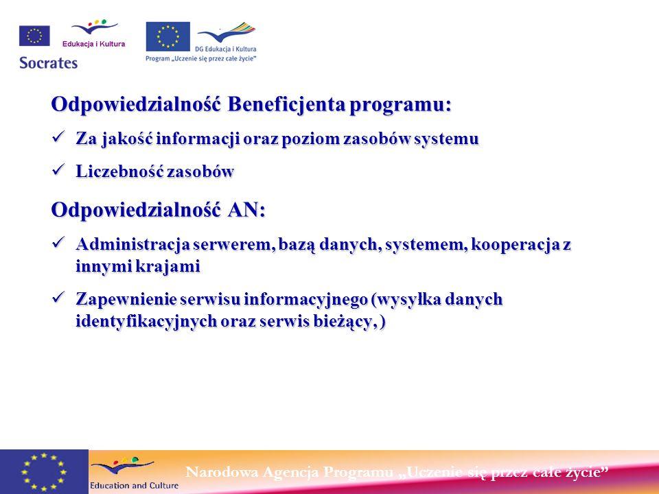 Narodowa Agencja Programu Uczenie się przez całe życie Odpowiedzialność Beneficjenta programu: Za jakość informacji oraz poziom zasobów systemu Za jakość informacji oraz poziom zasobów systemu Liczebność zasobów Liczebność zasobów Odpowiedzialność AN: Administracja serwerem, bazą danych, systemem, kooperacja z innymi krajami Administracja serwerem, bazą danych, systemem, kooperacja z innymi krajami Zapewnienie serwisu informacyjnego (wysyłka danych identyfikacyjnych oraz serwis bieżący, ) Zapewnienie serwisu informacyjnego (wysyłka danych identyfikacyjnych oraz serwis bieżący, )