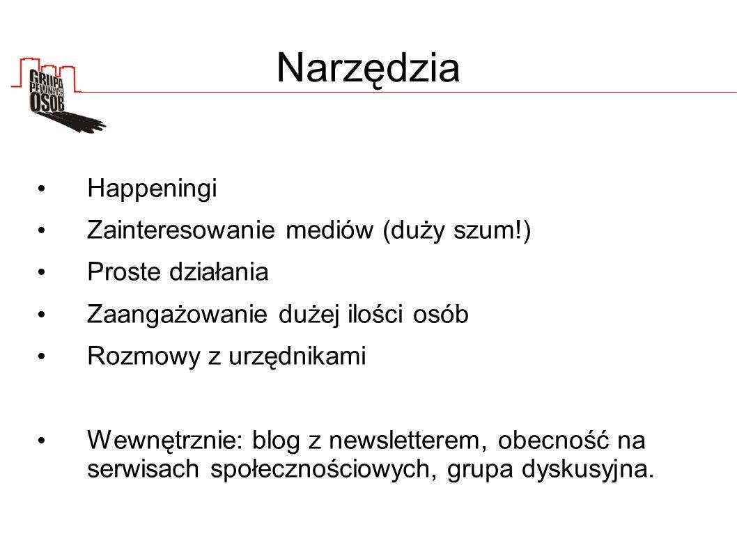Narzędzia Happeningi Zainteresowanie mediów (duży szum!) Proste działania Zaangażowanie dużej ilości osób Rozmowy z urzędnikami Wewnętrznie: blog z newsletterem, obecność na serwisach społecznościowych, grupa dyskusyjna.
