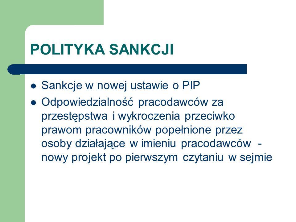 POLITYKA SANKCJI Sankcje w nowej ustawie o PIP Odpowiedzialność pracodawców za przestępstwa i wykroczenia przeciwko prawom pracowników popełnione prze