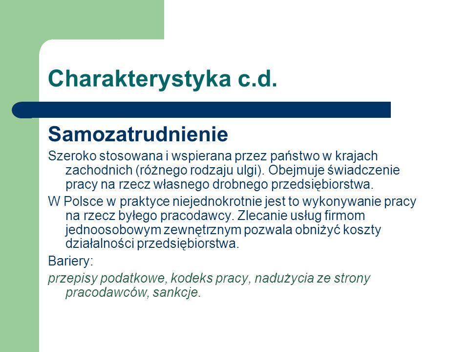 Charakterystyka c.d. Samozatrudnienie Szeroko stosowana i wspierana przez państwo w krajach zachodnich (różnego rodzaju ulgi). Obejmuje świadczenie pr