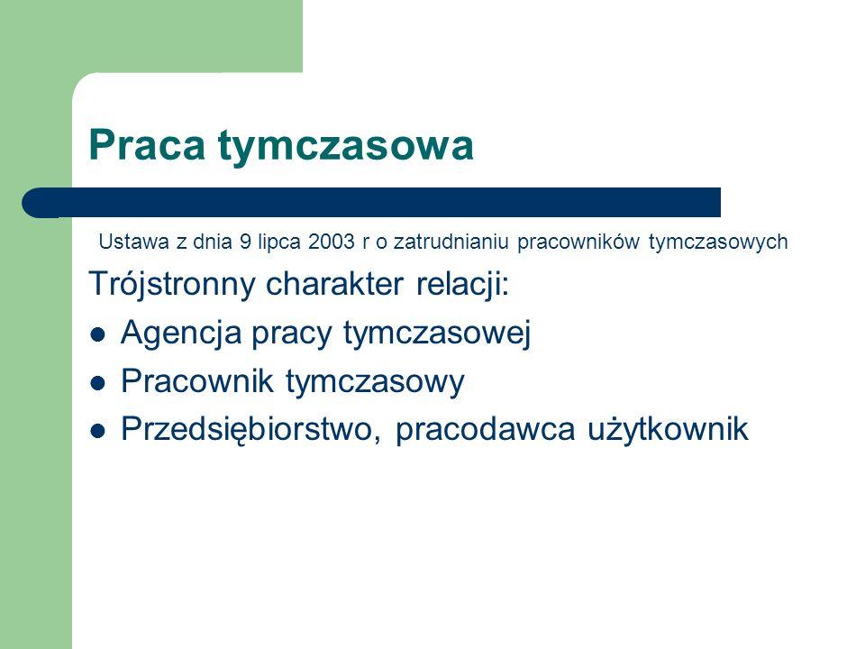 Praca tymczasowa Ustawa z dnia 9 lipca 2003 r o zatrudnianiu pracowników tymczasowych Trójstronny charakter relacji: Agencja pracy tymczasowej Pracown