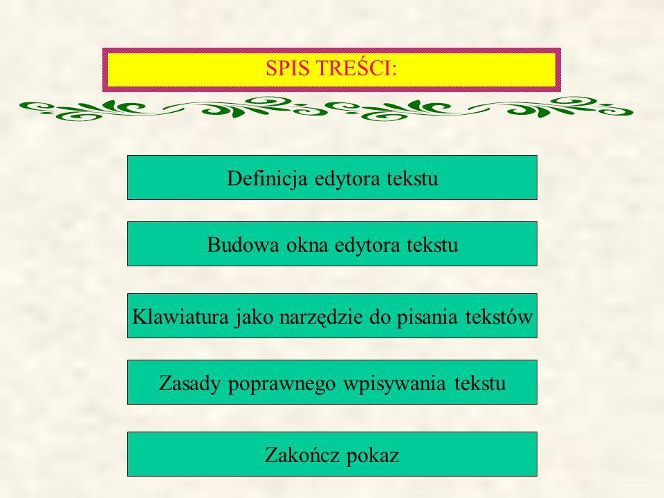SPIS TREŚCI: Definicja edytora tekstu Budowa okna edytora tekstu Klawiatura jako narzędzie do pisania tekstów Zasady poprawnego wpisywania tekstu Zakończ pokaz