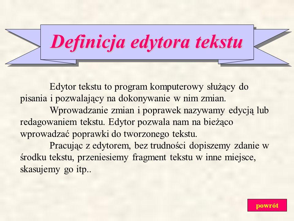 SPIS TREŚCI: Definicja edytora tekstu Budowa okna edytora tekstu Klawiatura jako narzędzie do pisania tekstów Zasady poprawnego wpisywania tekstu Zako