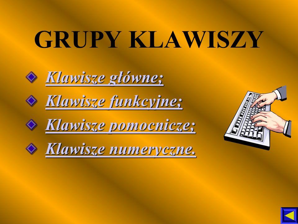 GRUPY KLAWISZY Klawisze główne; Klawisze funkcyjne; Klawisze pomocnicze; Klawisze numeryczne.