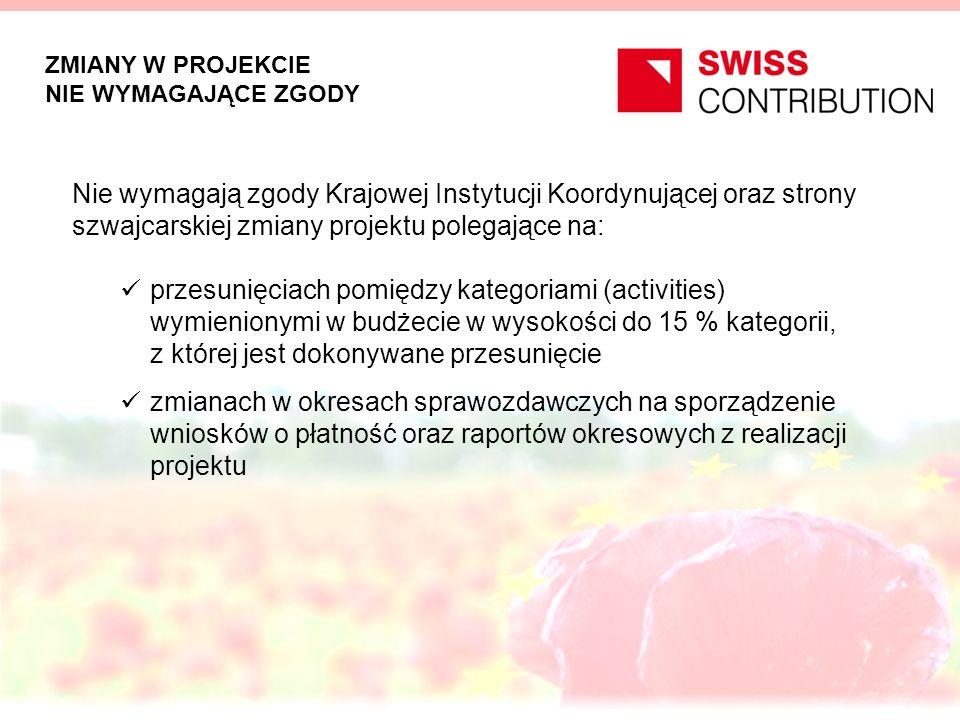 ZMIANY W PROJEKCIE NIE WYMAGAJĄCE ZGODY Nie wymagają zgody Krajowej Instytucji Koordynującej oraz strony szwajcarskiej zmiany projektu polegające na: przesunięciach pomiędzy kategoriami (activities) wymienionymi w budżecie w wysokości do 15 % kategorii, z której jest dokonywane przesunięcie zmianach w okresach sprawozdawczych na sporządzenie wniosków o płatność oraz raportów okresowych z realizacji projektu