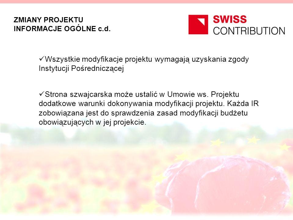 WNIOSKOWANIE O ZMIANY W PROJEKCIE Zmiana Projektu wymagająca uprzedniej zgody IP, KIK oraz strony szwajcarskiej nie wymagająca uprzedniej zgody KIK oraz strony szwajcarskiej w języku polskim Formularz Wniosku o zmianę w projekcie w języku polskim oraz angielskim