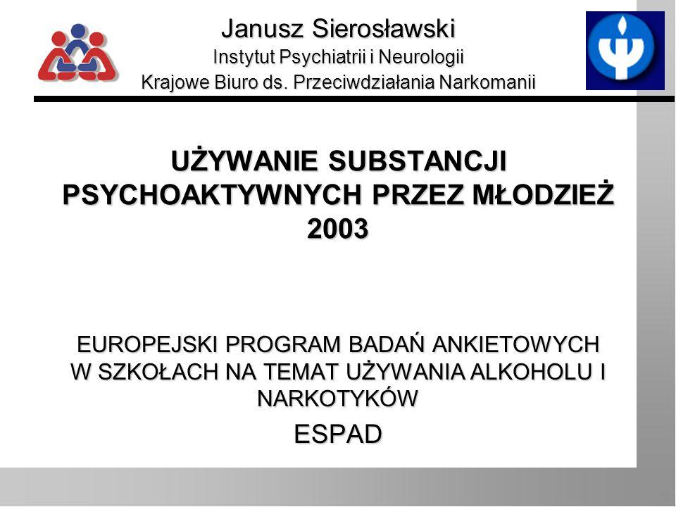 Janusz Sierosławski Wprowadzenia Wzrost rozmiarów zjawiska picia napojów alkoholowych wśród młodzieży szkolnej w Polsce Narastanie problemu narkotyków w skali kraju Zróżnicowanie terytorialne zarówno co do rozmiarów zjawiska, jak i jego charakteru - dane ogólnopolskie często nie są dobrym przybliżeniem sytuacji lokalnej czy regionalnej Potrzeba monitorowania problemu alkoholu i narkotyków w skali regionalnej