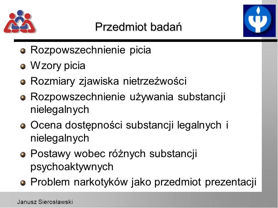 Janusz Sierosławski Przedmiot badań Rozpowszechnienie picia Wzory picia Rozmiary zjawiska nietrzeźwości Rozpowszechnienie używania substancji nielegal