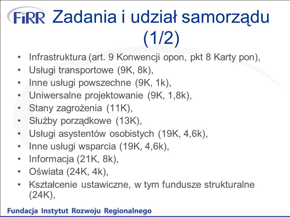 Zadania i udział samorządu (1/2) Infrastruktura (art. 9 Konwencji opon, pkt 8 Karty pon), Usługi transportowe (9K, 8k), Inne usługi powszechne (9K, 1k