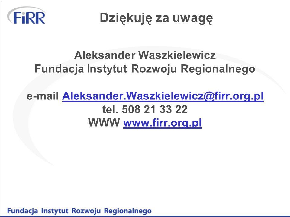 Dziękuję za uwagę Aleksander Waszkielewicz Fundacja Instytut Rozwoju Regionalnego e-mail Aleksander.Waszkielewicz@firr.org.pl tel. 508 21 33 22 WWW ww