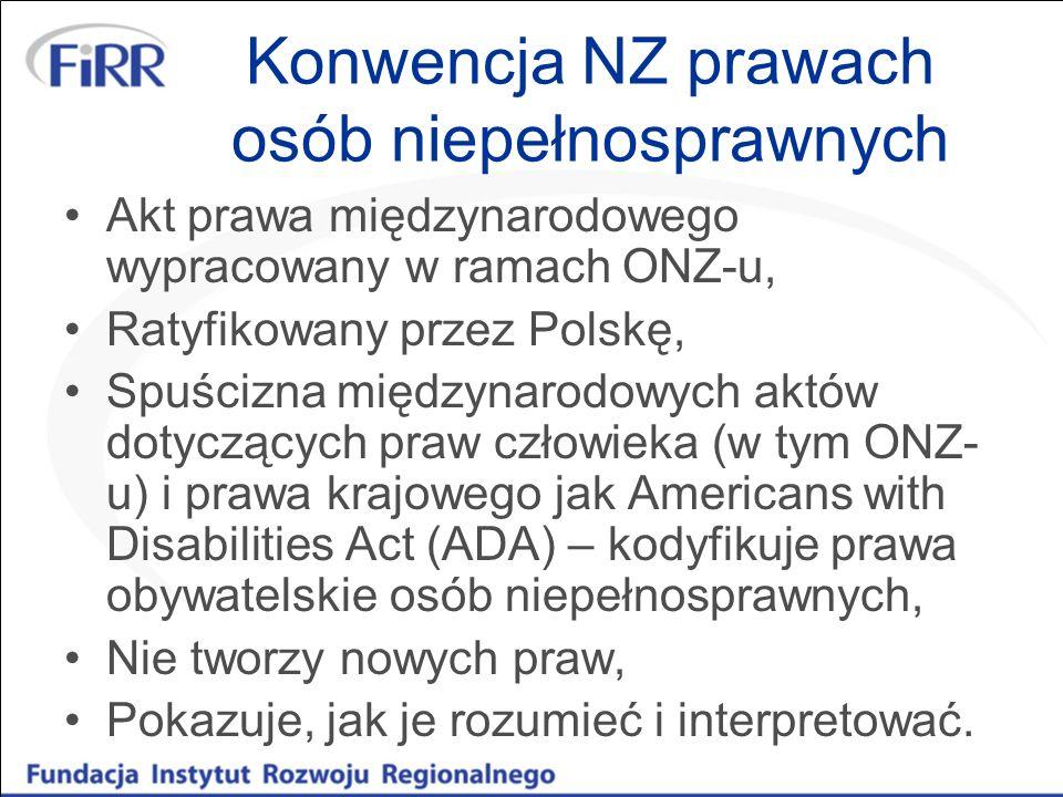 Konwencja NZ prawach osób niepełnosprawnych Akt prawa międzynarodowego wypracowany w ramach ONZ-u, Ratyfikowany przez Polskę, Spuścizna międzynarodowy