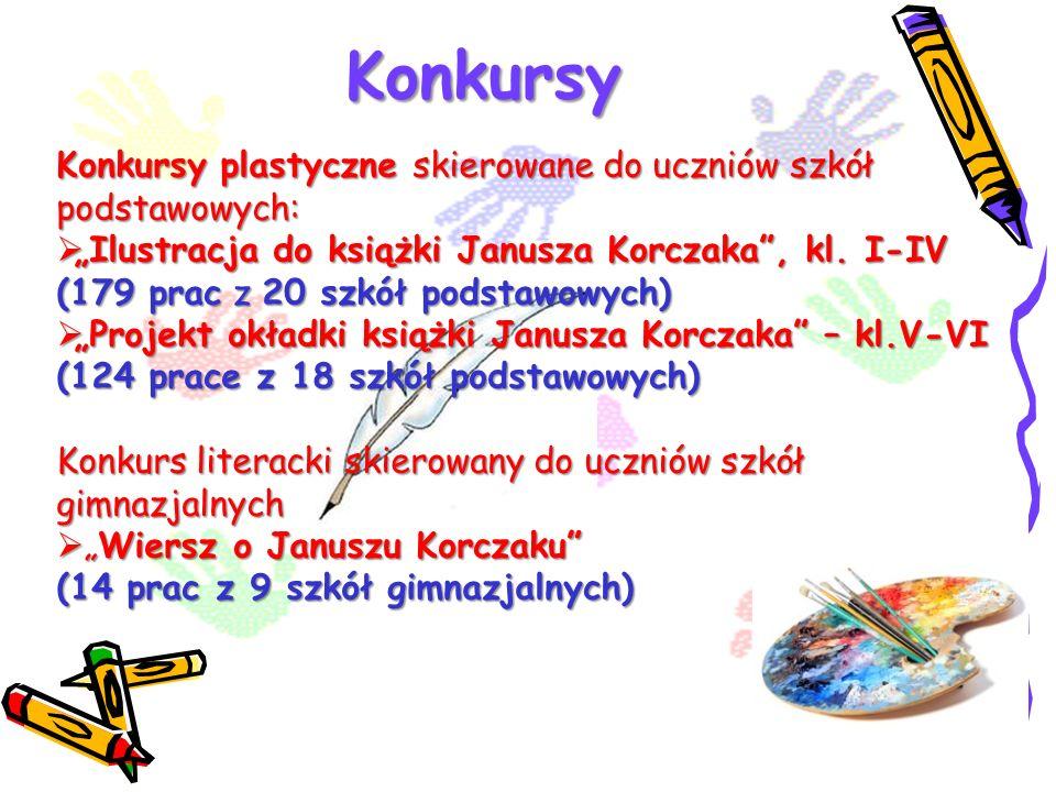 Konkursy Konkursy plastyczne skierowane do uczniów szkół podstawowych: Ilustracja do książki Janusza Korczaka, kl. I-IV (179 prac z 20 szkół podstawow
