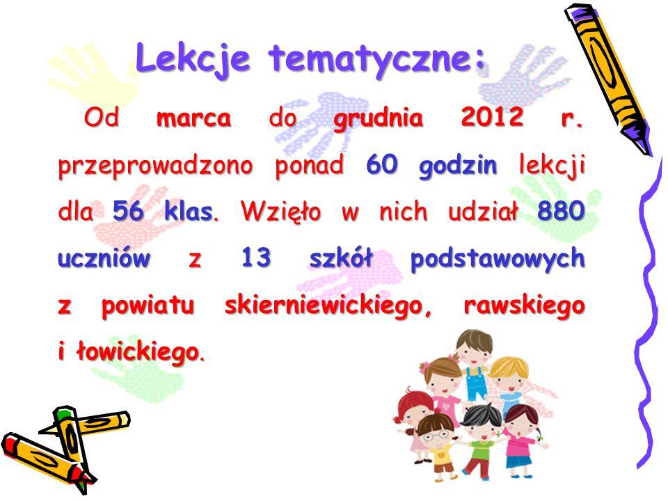 Lekcje tematyczne: Od marca do grudnia 2012 r. przeprowadzono ponad 60 godzin lekcji dla 56 klas. Wzięło w nich udział 880 uczniów z 13 szkół podstawo