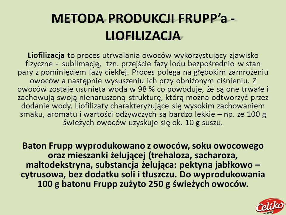 METODA PRODUKCJI FRUPPa - LIOFILIZACJA Liofilizacja to proces utrwalania owoców wykorzystujący zjawisko fizyczne - sublimację, tzn. przejście fazy lod