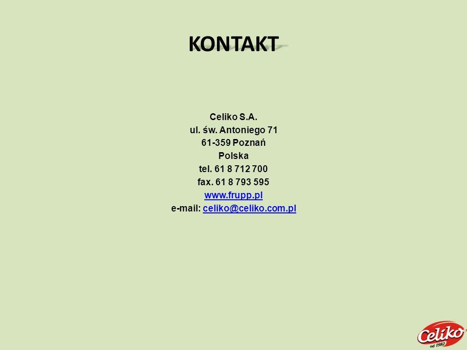 KONTAKT Celiko S.A. ul. św. Antoniego 71 61-359 Poznań Polska tel. 61 8 712 700 fax. 61 8 793 595 www.frupp.pl e-mail: celiko@celiko.com.plceliko@celi