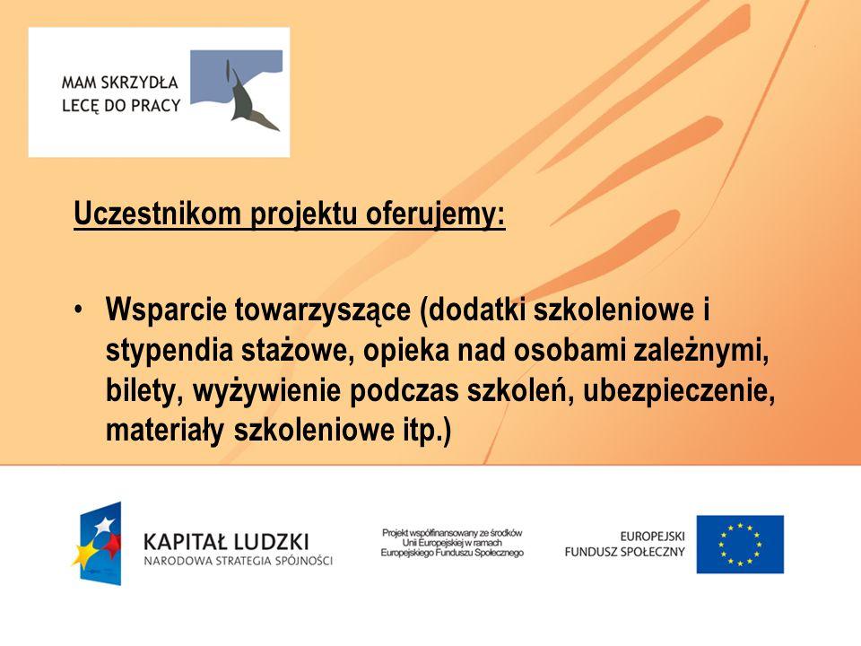Uczestnikom projektu oferujemy: Wsparcie towarzyszące (dodatki szkoleniowe i stypendia stażowe, opieka nad osobami zależnymi, bilety, wyżywienie podcz
