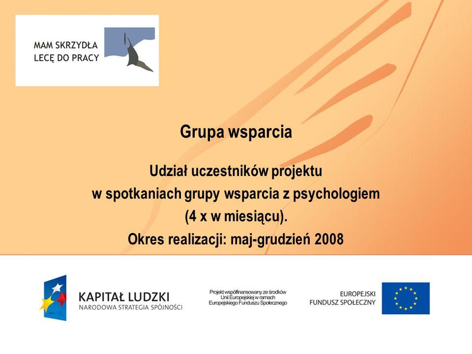 Grupa wsparcia Udział uczestników projektu w spotkaniach grupy wsparcia z psychologiem (4 x w miesiącu). Okres realizacji: maj-grudzień 2008