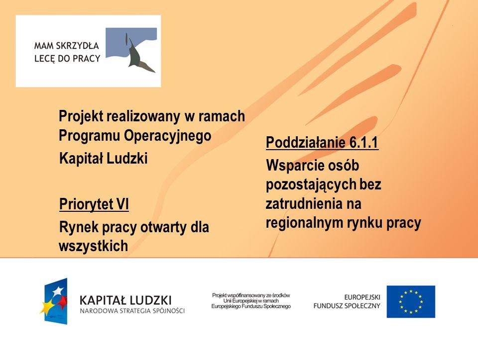 Projekt realizowany w ramach Programu Operacyjnego Kapitał Ludzki Priorytet VI Rynek pracy otwarty dla wszystkich Poddziałanie 6.1.1 Wsparcie osób pozostających bez zatrudnienia na regionalnym rynku pracy