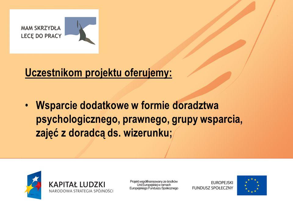 Uczestnikom projektu oferujemy: Wsparcie dodatkowe w formie doradztwa psychologicznego, prawnego, grupy wsparcia, zajęć z doradcą ds. wizerunku;