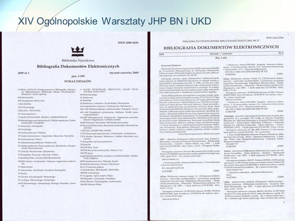XIV Ogólnopolskie Warsztaty JHP BN i UKD