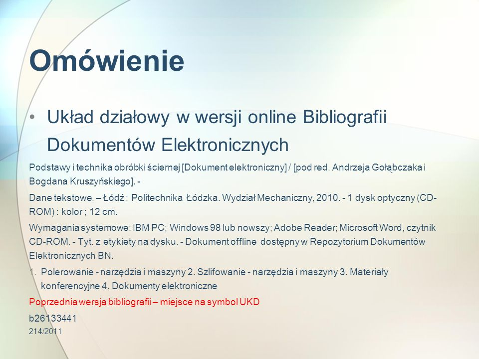 Omówienie Bibliografia Dokumentów Elektronicznych 3(0.034) Nauki społeczne.