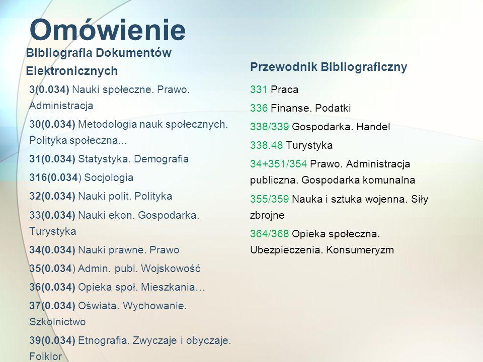 Omówienie Bibliografia Dokumentów Elektronicznych 3(0.034) Nauki społeczne. Prawo. Administracja 30(0.034) Metodologia nauk społecznych. Polityka społ