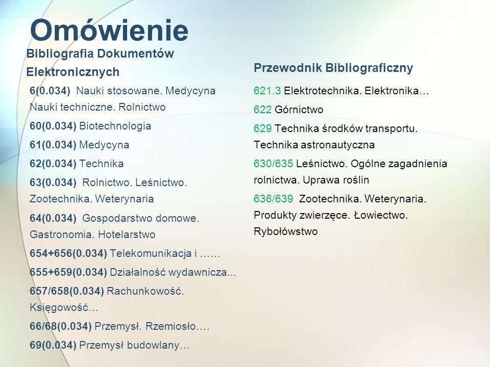 Omówienie Bibliografia Dokumentów Elektronicznych 6(0.034) Nauki stosowane. Medycyna Nauki techniczne. Rolnictwo 60(0.034) Biotechnologia 61(0.034) Me