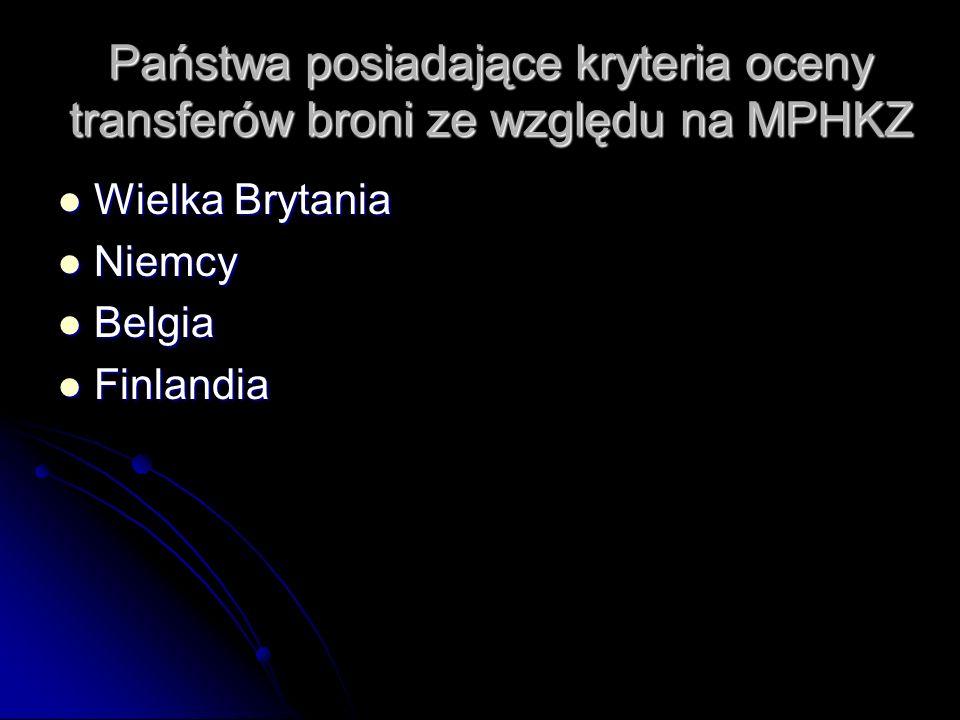 Państwa posiadające kryteria oceny transferów broni ze względu na MPHKZ Wielka Brytania Wielka Brytania Niemcy Niemcy Belgia Belgia Finlandia Finlandi