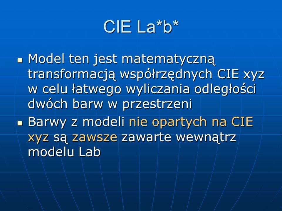 CIE La*b* Model ten jest matematyczną transformacją współrzędnych CIE xyz w celu łatwego wyliczania odległości dwóch barw w przestrzeni Model ten jest