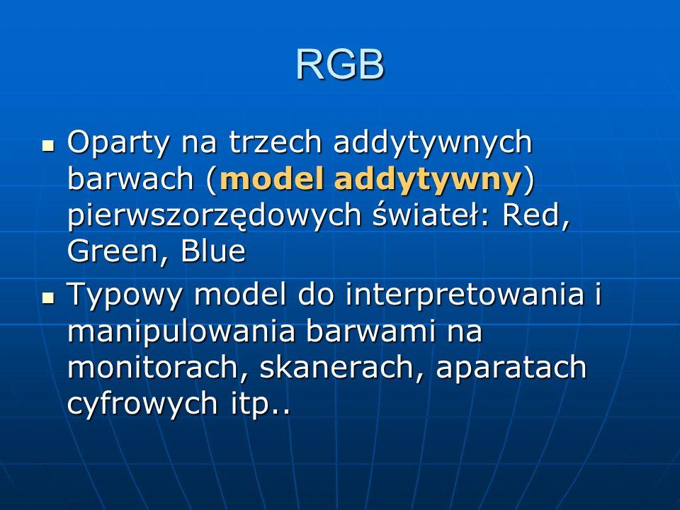RGB Oparty na trzech addytywnych barwach (model addytywny) pierwszorzędowych świateł: Red, Green, Blue Oparty na trzech addytywnych barwach (model add