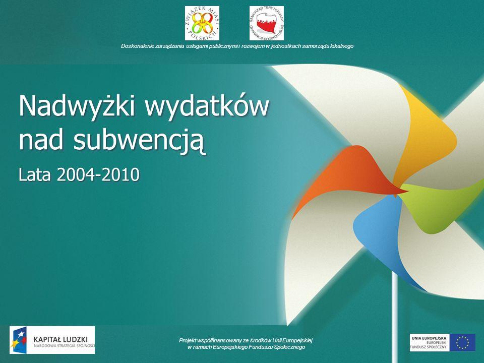 Doskonalenie zarządzania usługami publicznymi i rozwojem w jednostkach samorządu lokalnego Projekt współfinansowany ze środków Unii Europejskiej w ramach Europejskiego Funduszu Społecznego Nadwyżki wydatków nad subwencją Lata 2004-2010