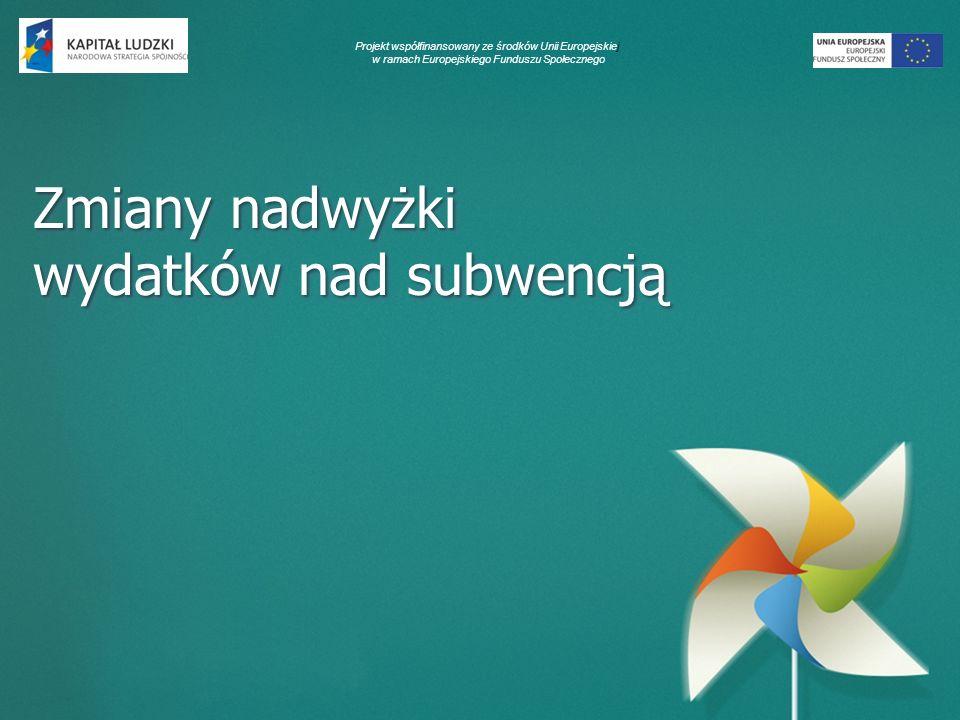 Projekt współfinansowany ze środków Unii Europejskiej w ramach Europejskiego Funduszu Społecznego Zmiany nadwyżki wydatków nad subwencją