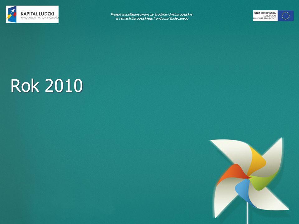 Projekt współfinansowany ze środków Unii Europejskiej w ramach Europejskiego Funduszu Społecznego Rok 2010