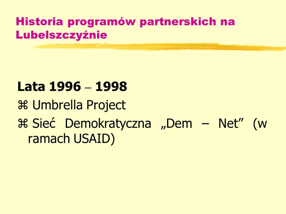 Historia programów partnerskich na Lubelszczyźnie Lata 1996 – 1998 z Umbrella Project z Sieć Demokratyczna Dem – Net (w ramach USAID)