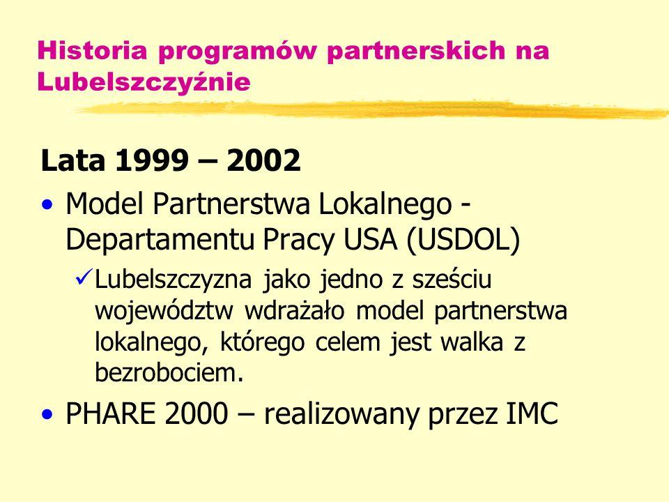 Historia programów partnerskich na Lubelszczyźnie Lata 1999 – 2002 Model Partnerstwa Lokalnego - Departamentu Pracy USA (USDOL) Lubelszczyzna jako jedno z sześciu województw wdrażało model partnerstwa lokalnego, którego celem jest walka z bezrobociem.