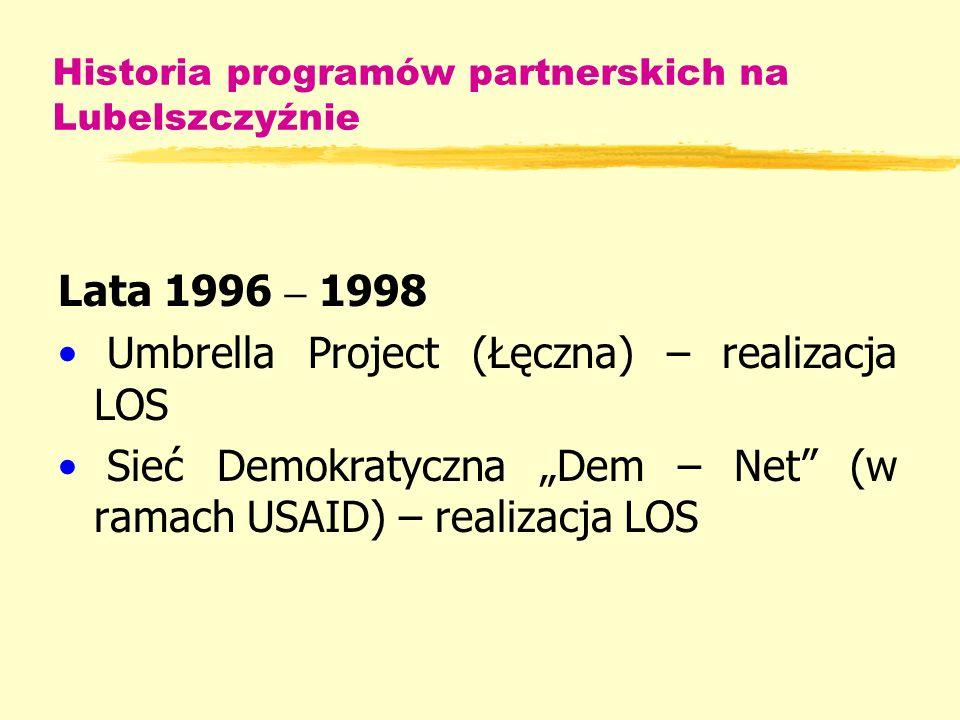 Historia programów partnerskich na Lubelszczyźnie Lata 1996 – 1998 Umbrella Project (Łęczna) – realizacja LOS Sieć Demokratyczna Dem – Net (w ramach USAID) – realizacja LOS