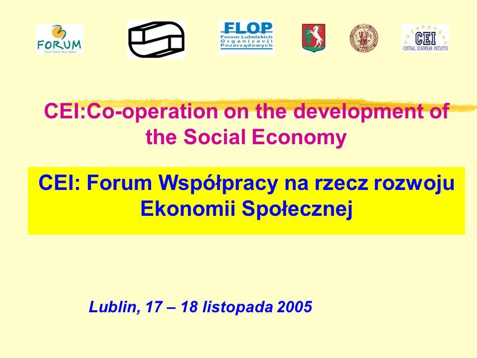 CEI:Co-operation on the development of the Social Economy Lublin, 17 – 18 listopada 2005 CEI: Forum Współpracy na rzecz rozwoju Ekonomii Społecznej
