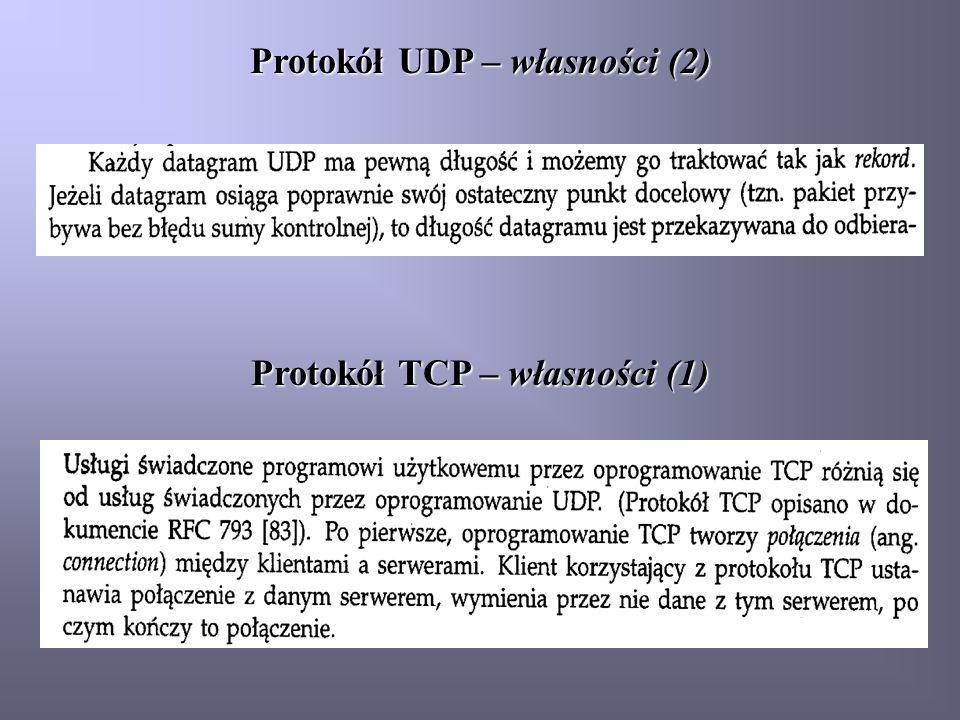 Protokół TCP – własności (1) Protokół UDP – własności (2)