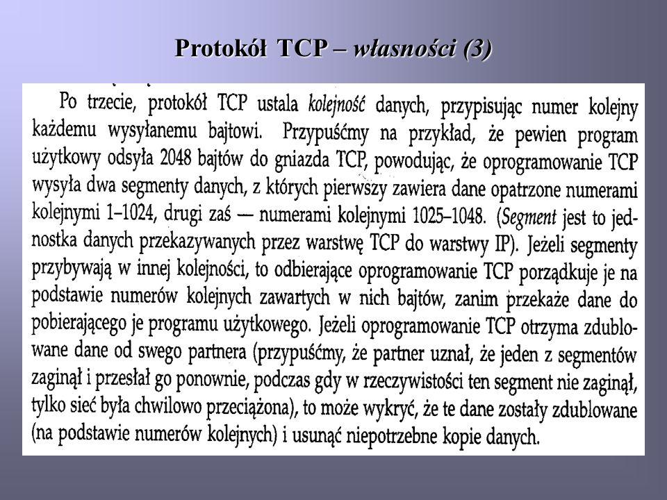 Protokół TCP – własności (3)
