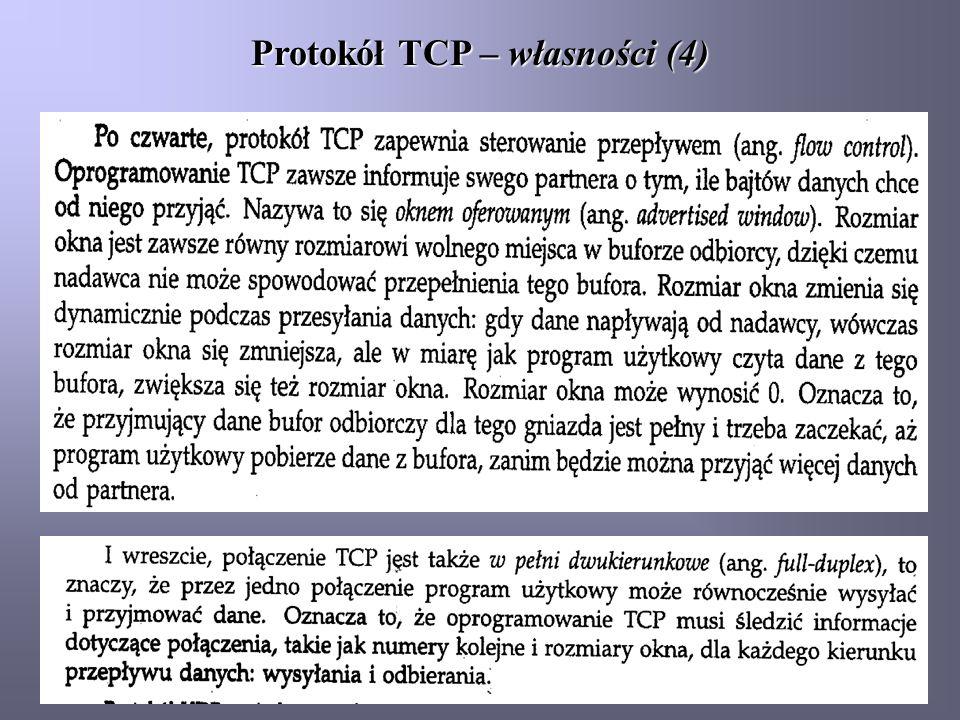 Protokół TCP – własności (4)