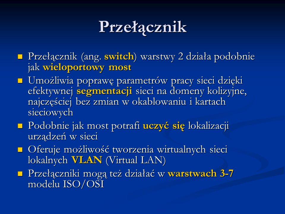 Przełącznik Przełącznik (ang. switch) warstwy 2 działa podobnie jak wieloportowy most Przełącznik (ang. switch) warstwy 2 działa podobnie jak wielopor