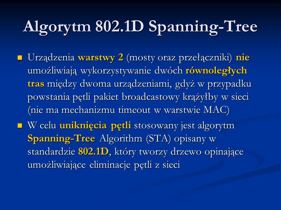Algorytm 802.1D Spanning-Tree Urządzenia warstwy 2 (mosty oraz przełączniki) nie umożliwiają wykorzystywanie dwóch równoległych tras między dwoma urzą