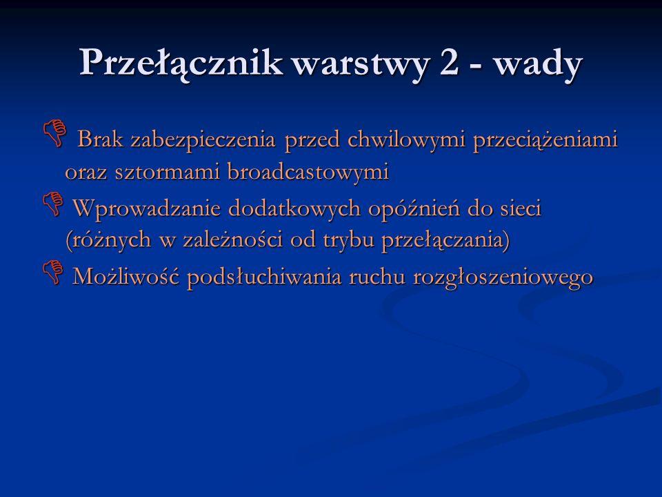 Przełącznik warstwy 2 - wady Brak zabezpieczenia przed chwilowymi przeciążeniami oraz sztormami broadcastowymi Brak zabezpieczenia przed chwilowymi pr