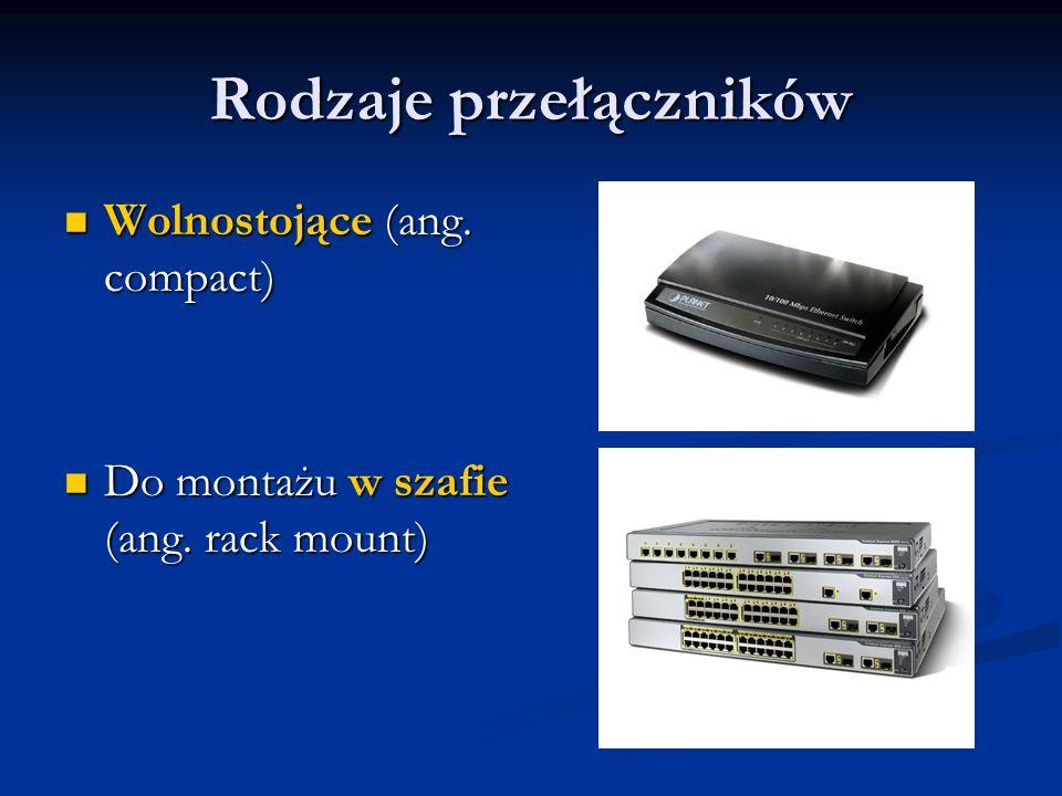 Rodzaje przełączników Wolnostojące (ang. compact) Wolnostojące (ang. compact) Do montażu w szafie (ang. rack mount) Do montażu w szafie (ang. rack mou